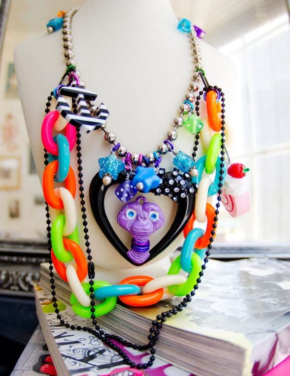 e.t.'s rainbow fiesta necklace. retro neon trashy couture by elfmadchen.