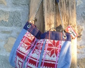 Tote bag on wool nordic knitted fabric and tartan wool. Alll hand made One of a Kind