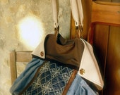 Tote handmade bag, with flaps, on leather and wool fabric A classic winter style