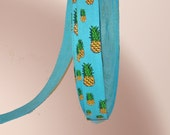 5 Yards of Turquoise GROSGRAIN ribbon with Pineapple Stamps
