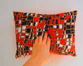 Pillow cover vintage fabric Orange black white red pattern Retro Funky bachelor pad pillow case eco friendly