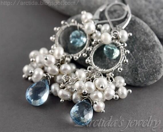Aquamarine jewelry Aquamarine Pearl blue Topaz earrings sterling silver wedding jewelry March birthstone - Melite