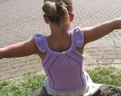 PDF knitting pattern, tshirt, top, lace, tank top Sunshine size 2-16 years