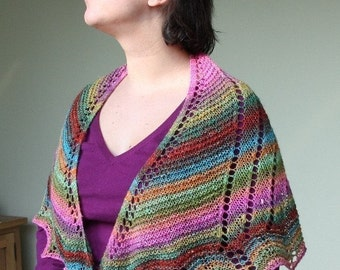 pdf knitting pattern scarf, scarflette, shawl, shawlette, neckwarmer: Allysum