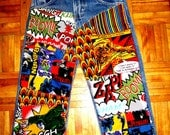 Comic Book Superheroes Patchwork Jeans - Decoupage Denim - Custom Hand-Embellished Jeans for Boys - All Sizes Available