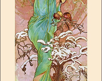 Art Print on SILK Alphonse MUCHA - Art Nouveau Lady of WINTER- Fiber Arts Collage Embellish