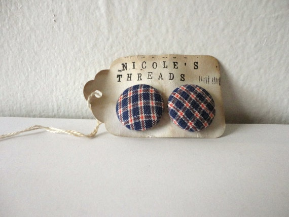 Red and Blue Plaid Fabric Button Cuff Links // handmade in Vermont // by Nicoles Threads