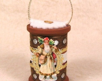 Vintage Style Antique Scrap Santa with Dresdens Spool Ornament