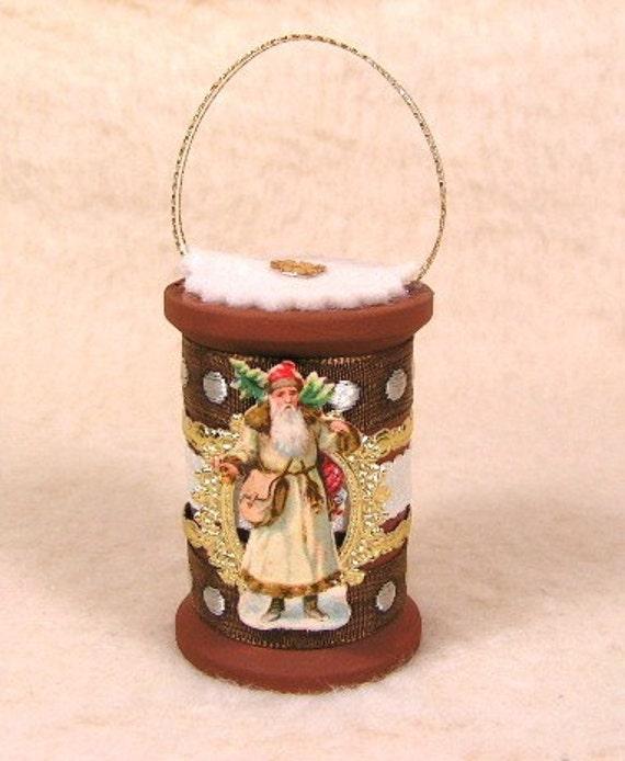 Vintage Style Antique Scrap Santa with Dresdens Spool Ornament