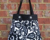 Large Black and White Floral Pleated Handbag