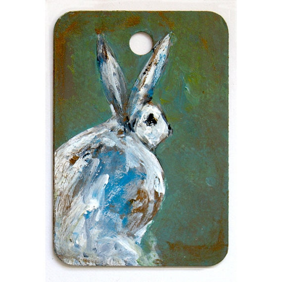 Rabbit Art - Who Goes There - Original Miniature Painting - Funny Bunny Guard Sign - Hostess Gift - Children Decor - Nursery Art