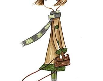 Windy girl art print