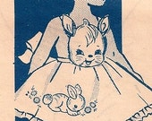 Little Girls Bunny Rabbit Vintage 1940s Apron Pattern 719
