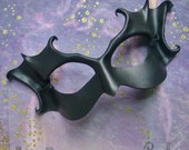 Black Masquerade Mask - Sculpted Leather Witch Or Crone - Gothic Halloween Costume