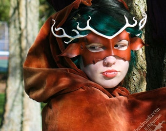 Leather Deer Mask, Stag with Antlers, Horned God or Animal Mask - Elegant Handmade Unisex Masquerade Costume