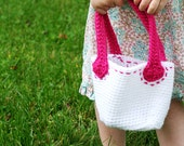 Pink Stitched Crochet Purse for Little Girls