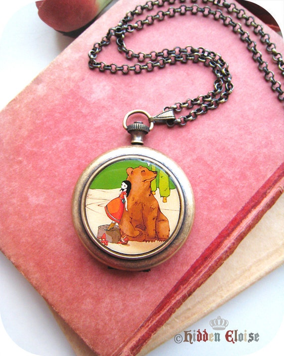 Him and Her Pocket Watch Locket, girl with bear locket, bear pocket watch, vintage like, forest animal, gifts for her, i heart forest Q02