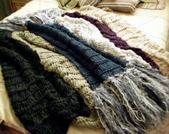 Home Accessories Interiors Design Decor Throw Blanket, Fringe Afghan Lap Warmer, Long Blanket with Thick Tassels, YOU CHOOSE COLORS