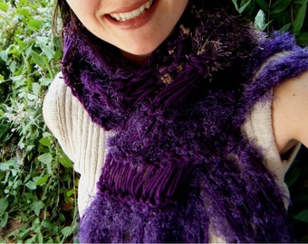 Warm Scarf, Grape Scarf, Deep Purple Scarf, Eggplant Scarf, Hints of Navy Blue, Gold Tan Brown and Purple Scarf Dark Purple Scarf