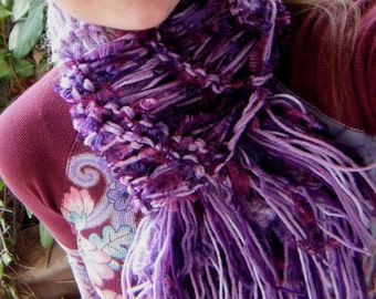 Purple Scarf Lilacs, Lavender and Plums - Purples Handknit Fashion Scarf Makes Feminine Gift for Purple Lover Vegan