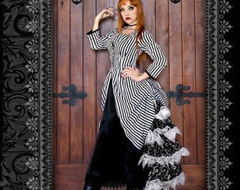 Whimsical Black and White Striped Victorian Cabaret Bustle Jacket by Kambriel - Designer Sample - Brand New & Ready to Ship! Jacket only