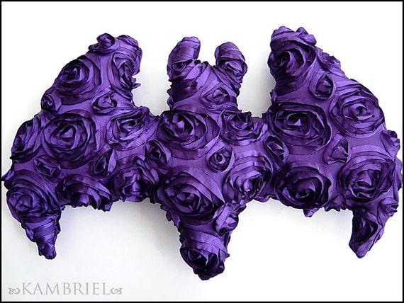 Purple Satin Rosette Bat Pillow Doll - Brand New by Kambriel