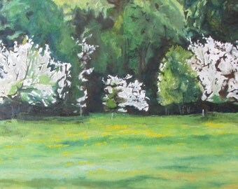 """Large Landscape Oil Painting Original Blossom Spring White Flower Eastern Townships Canada Fournier"""" The Flowering Apple Trees """" 24"""" x 48"""""""