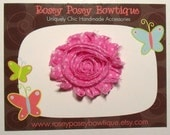 RPB Shabby Chic Rolled Chiffon Rosette Flower Hair Clip or Pin - Pink with White Polka Dot