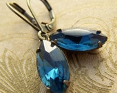 Blue Rhinestone Drop Earrings, Montana Blue Vintage Rhinestone Earrings, Weddings, Marquise Shape Drop