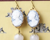 Anna Vintage Cameo Drop Earrings, Pale Blue Cameo and Marble, Cameo Dangle Earrings, Victorian Style, Blue and White Cameo