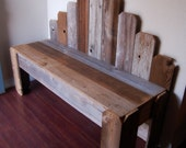 Recycled Wood Bench. Large Garden Bench, Over 4 FT Patio Furniture Entryway Bench, Fan Back Bench. Eco Furniture. Rustic Furniture