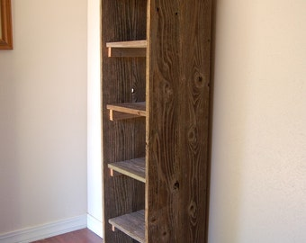 Wooden Bookcase. Tall Bookcase. Skinny Bookcase. Skinny Shelf. Apartment Decor. Bathroom Shelf, Kitchen shelf. Entry Storage Shelf