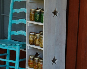 Country Bookcase Skinny Kitchen Shelf Storage CHOOSE COLOR Cedar Wood Shelf. Wooden Storage Shelf. Wood Furniture Wood Bookcase Star