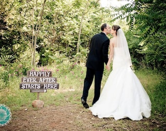 Happily Ever After Starts Here Sign Rustic Wedding Signs LARGE FONT Recycled Wood With 1 stake. Directional Arrow Trueconnection Reception