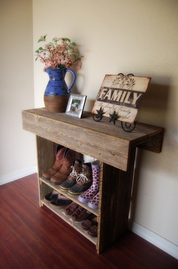 Console table wood entry way or wall table 36 x by for Entry wall table