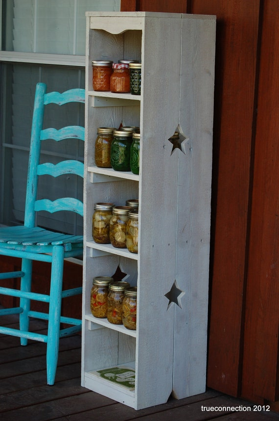 Items Similar To Country Bookcase Skinny Kitchen Shelf Storage Choose Color Cedar Wood Shelf