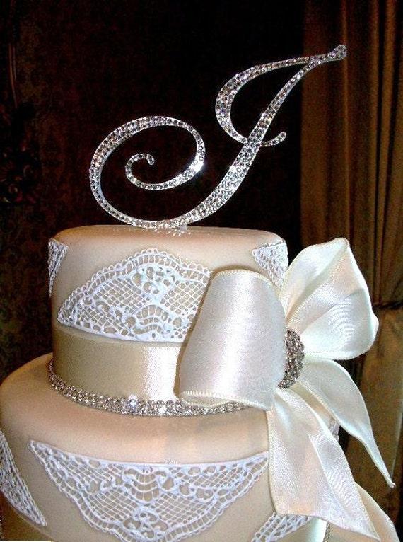 "5"" Swarovski Crystal Monogram Cake Topper ANY letter from the alphabet"