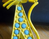 Yellow Cat Modernist Brooch with Turquoise Rhinestones