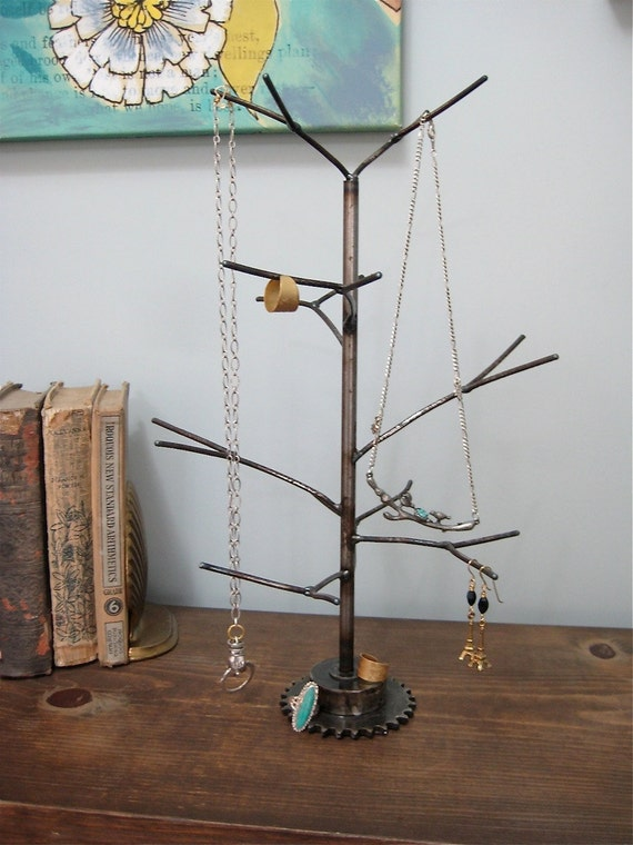 December Tree. Handwelded recycled steel tree for jewelry, holiday ornaments, or decoration. Made to order
