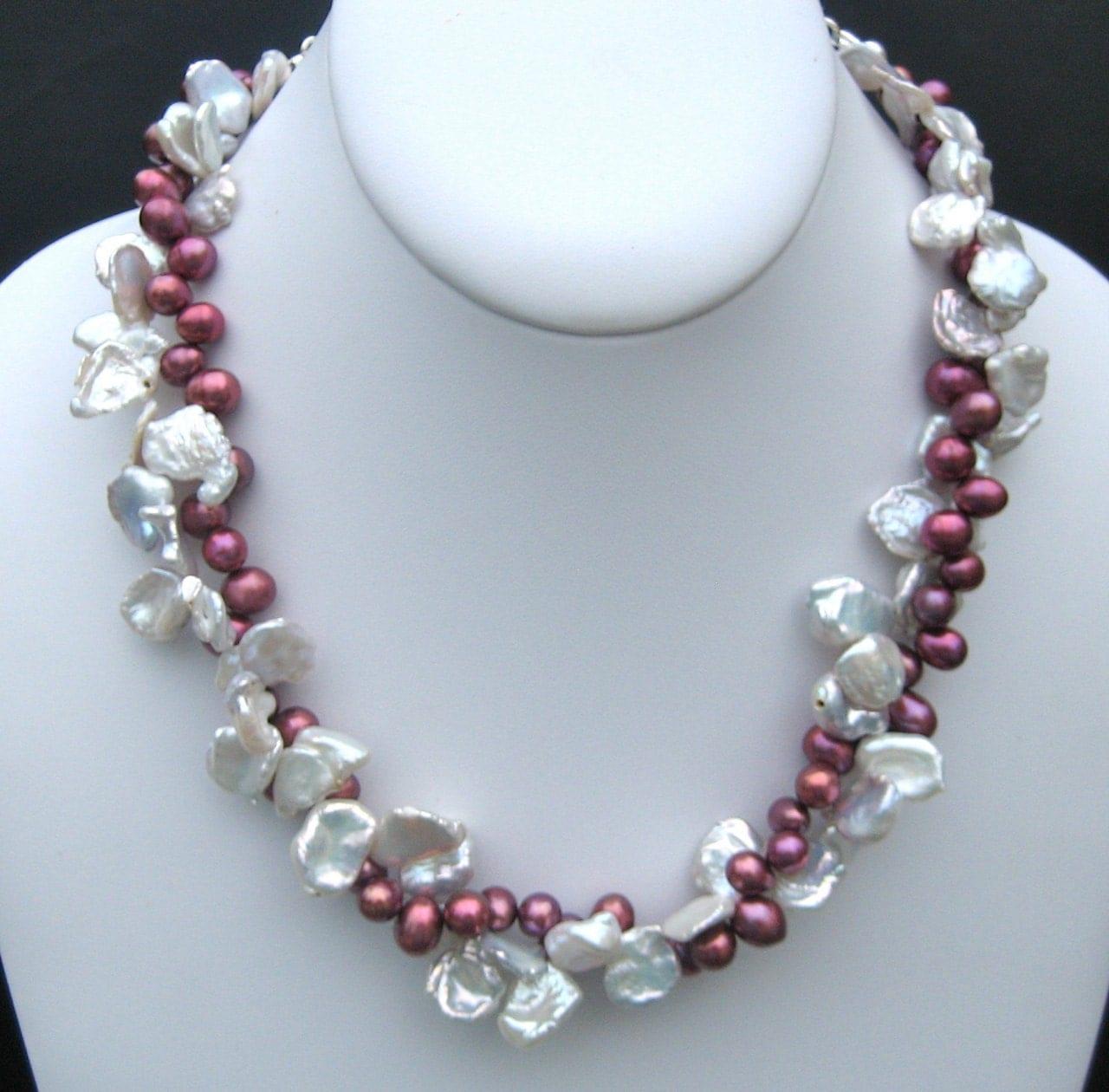 Keshi Pearls White Keshi And Raspberry Pearls Necklace Huge