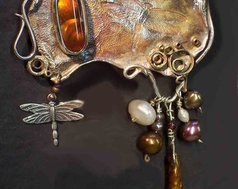 DRAGONFLY Brooch, Sterling, Fire Agate, pearls, a one of a kind work, signed, dated by L. Beers Aydlott