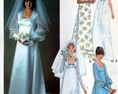 70s Wedding dress bridesmaid dresses Vintage Sewing pattern Simplicity 8392 Size 10