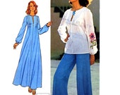70s peasant top and boho hippie caftan and flared retro groovy pants vintage sewing pattern Simplicity 6927 Bust 38