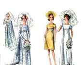 1960s Mod Wedding Brides bridesmaids dress or evening dress vintage sewing pattern Simplicity 6352 Bust 36 mod UNCUT