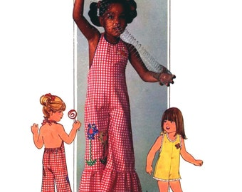 70s Vintage Simplicity 7557 childs halter jumpsuit Summer play wear retro boho sewing pattern chest 23