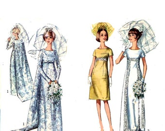 1960s Mod Wedding Brides bridesmaids dress or evening dress vintage sewing pattern Simplicity 6352 Bust 36 mod UNCUT