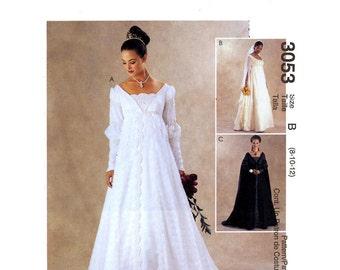 Brides wedding dress Renaissance style gown Bridesmaids frocks McCalls 3053 sewing pattern SZ 10 to 14 UNCUT