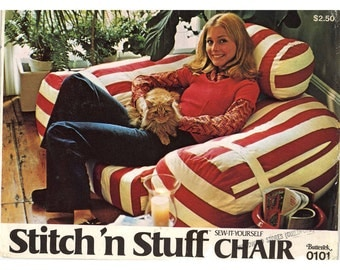 70s Chair Furniture comfy Vintage sewing pattern Butterick 0101 Home decor UNCUT