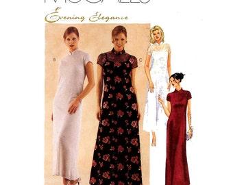 Evening dress pattern Bride or Bridesmaid dress with mandarin collar sewing pattern McCalls 9598 Sz 14 to1 8