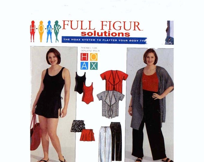 Simplicity 8772 Plus Size Jacket Pants Swimsuit swim skirt sewing pattern 18W to 24W